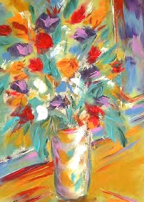 Floral  Vivid Colors Greeting Card featuring the painting Fresh Cut by Gary l Hartsfield