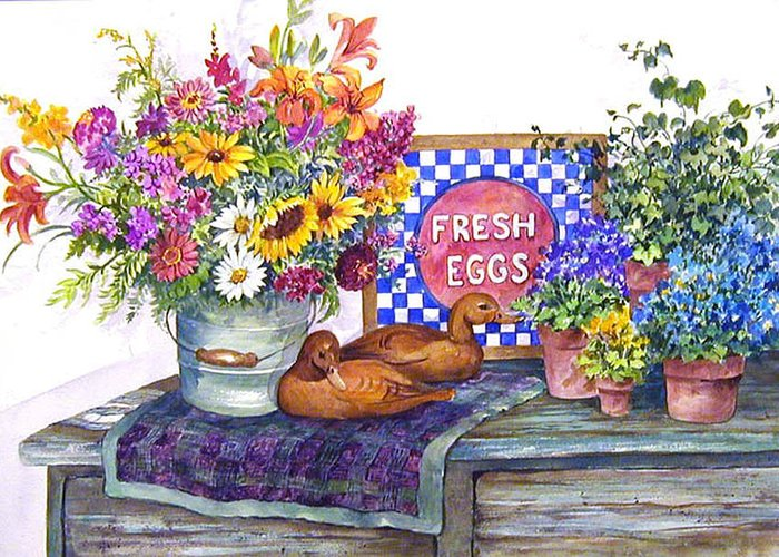 Watercolor;ducks;decoys;floral;mixed Bouquet;potted Plants;checkerboard;quilt; Greeting Card featuring the painting Fresh Eggs by Lois Mountz