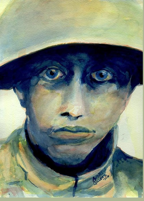 World War One Greeting Card featuring the painting Fresh From The Front Line by Andrew Gillette