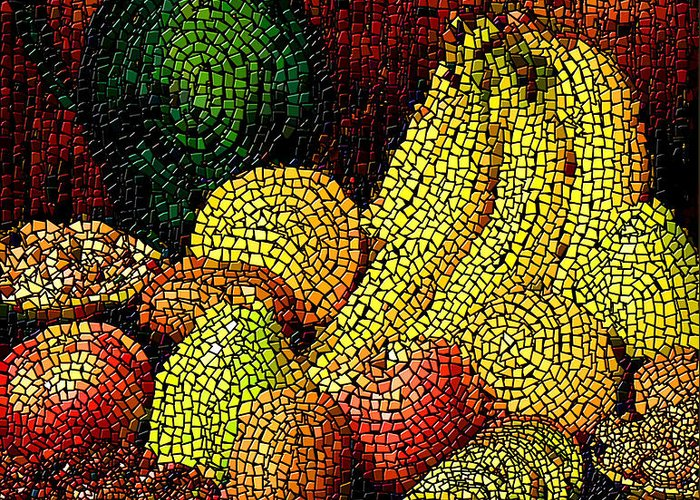 Fruit Greeting Card featuring the digital art Fresh Fruit Tiled by Stephen Lucas