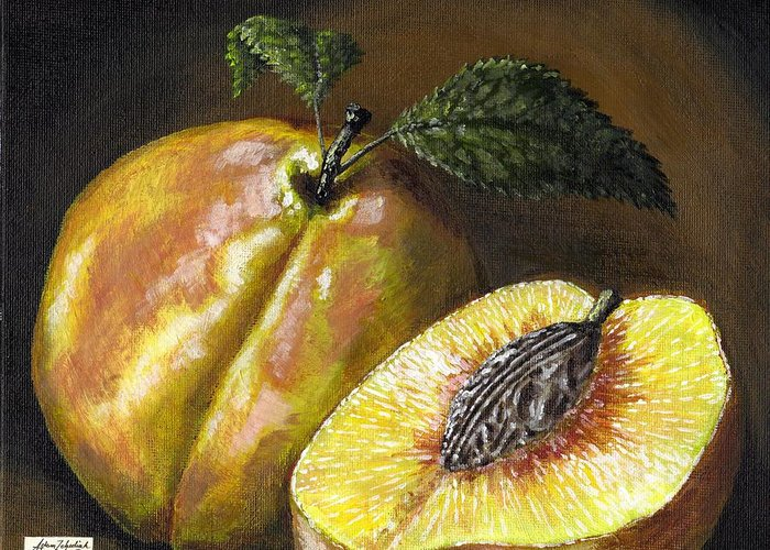 Acrylic Greeting Card featuring the painting Fresh Peaches by Adam Zebediah Joseph
