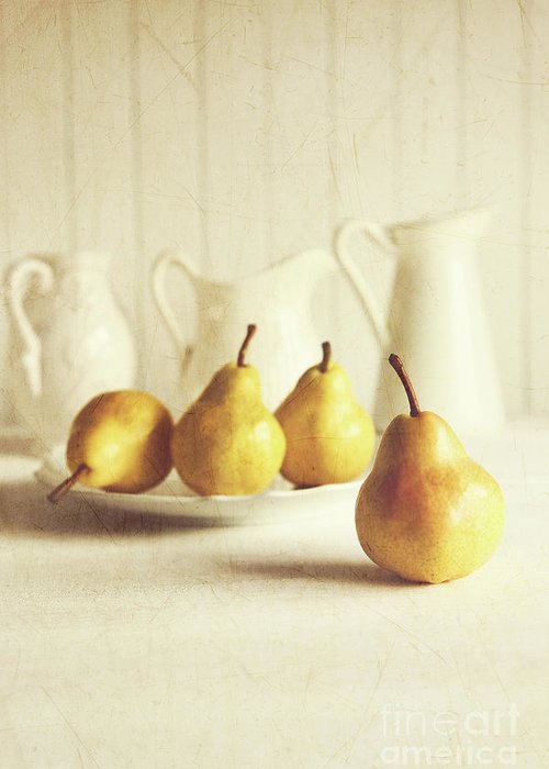 Agriculture Greeting Card featuring the photograph Fresh Pears On Old Wooden Table by Sandra Cunningham