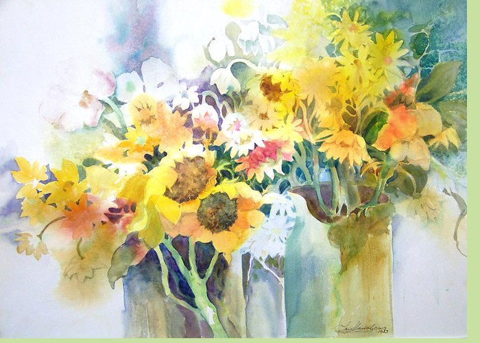 Contemporary;watercolor;sunflowers;daisies;floral; Greeting Card featuring the painting Fresh-picked by Lois Mountz