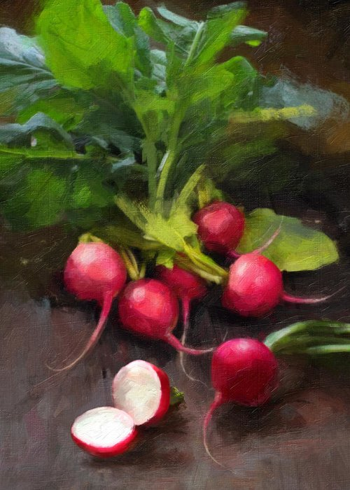 Radishes Greeting Card featuring the painting Fresh Radishes by Robert Papp