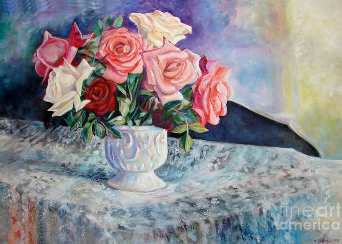 Still Life Greeting Card featuring the painting Fresh Roses by Nancy Isbell