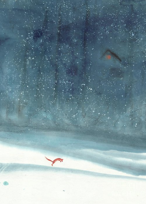 A Playful Red Fox On A Snowy Day Greeting Card featuring the painting Fresh Snow by Mui-Joo Wee