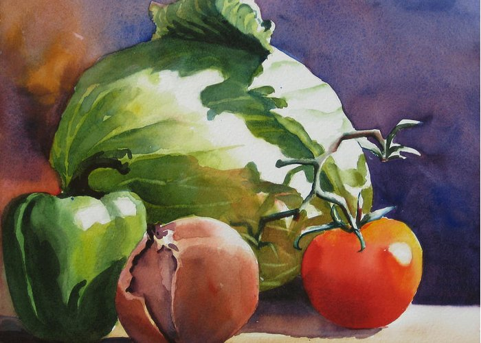 Watercolor Greeting Card featuring the painting Fresh Vegetables by Sue Zimmermann
