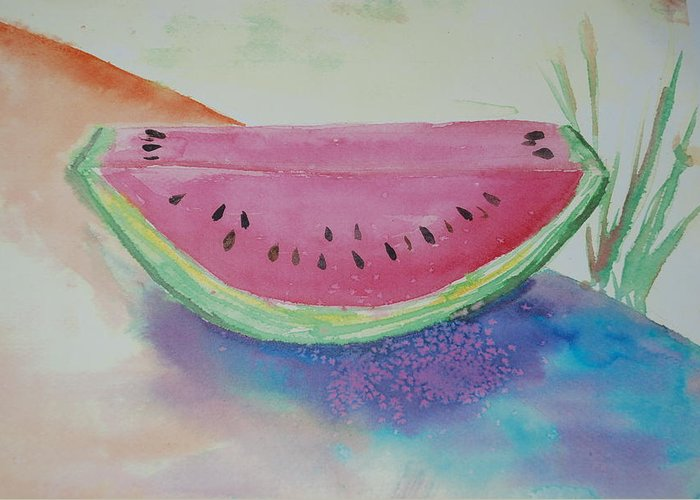 Watermelon Greeting Card featuring the painting Fresh Watermelon by Aldonia Bailey