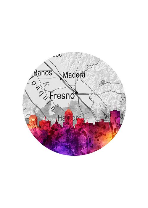 Fresno Greeting Card featuring the painting Fresno California 14rd by Aged Pixel