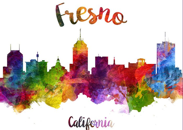 Fresno Greeting Card featuring the painting Fresno California Skyline 23 by Aged Pixel