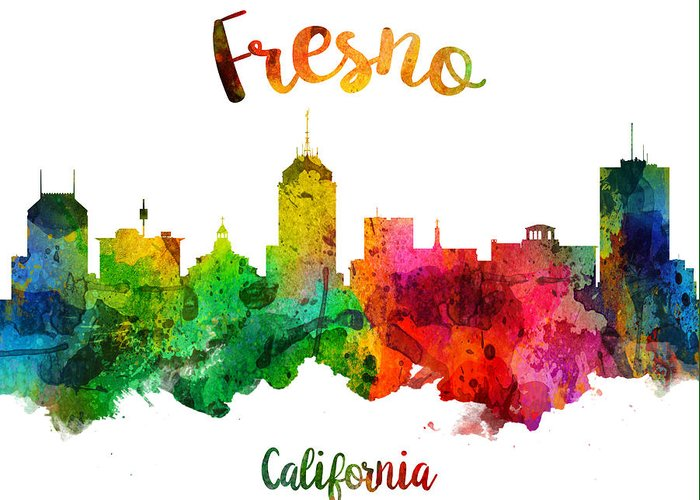Fresno Greeting Card featuring the painting Fresno California Skyline 24 by Aged Pixel