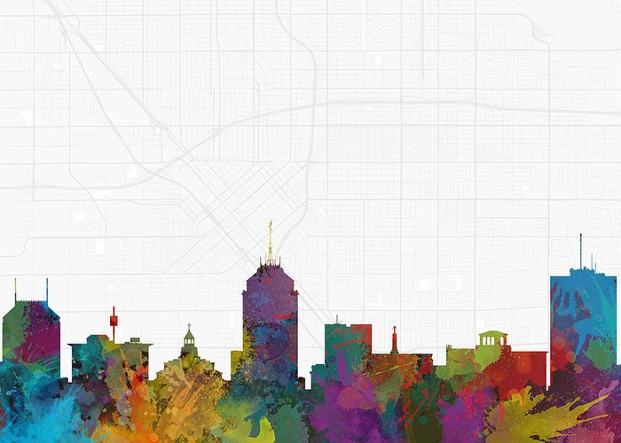 Map Greeting Card featuring the digital art Fresno Cityscape And Streetmap Skyline by Jurq Studio