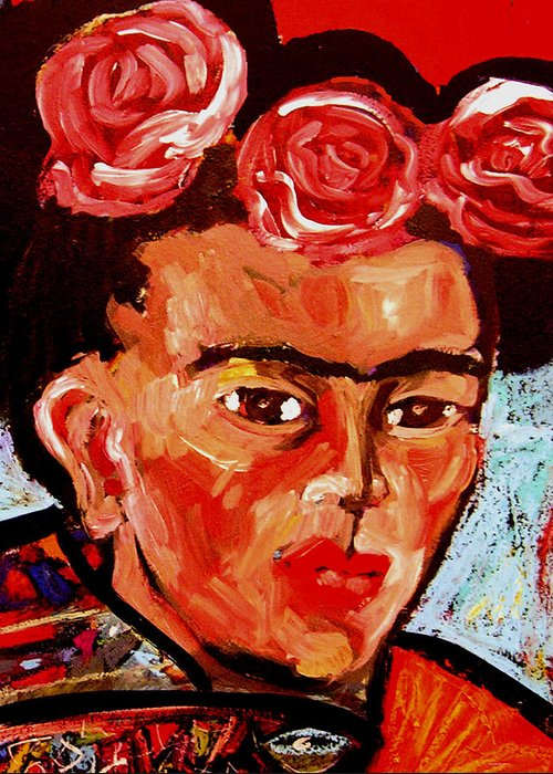 Mexico Greeting Card featuring the painting Frida by Angelina Marino