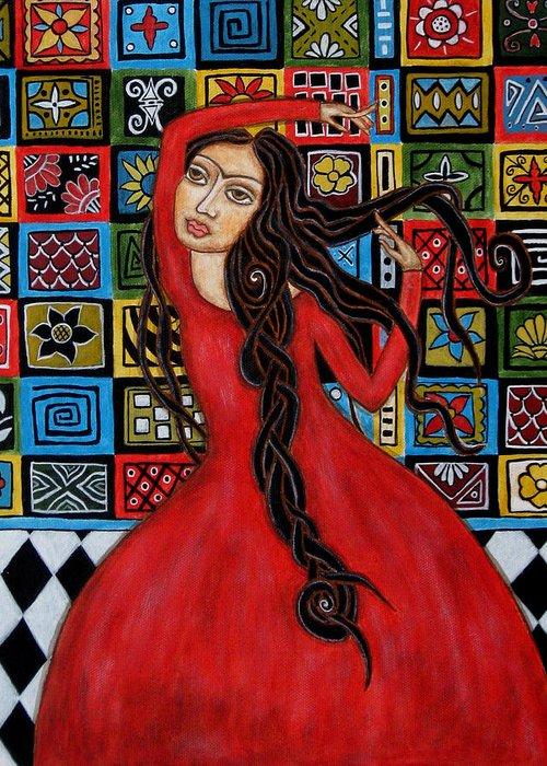 Frida Kahlo Paintings Greeting Card featuring the painting Frida Kahlo Flamenco Dancing by Rain Ririn