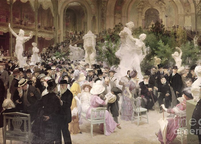 Friday At The French Artists' Salon Greeting Card featuring the painting Friday At The Salon by Jules Alexandre Grun