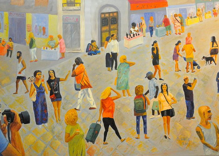 People Greeting Card featuring the painting Friday In Tel Aviv by Asher Topel