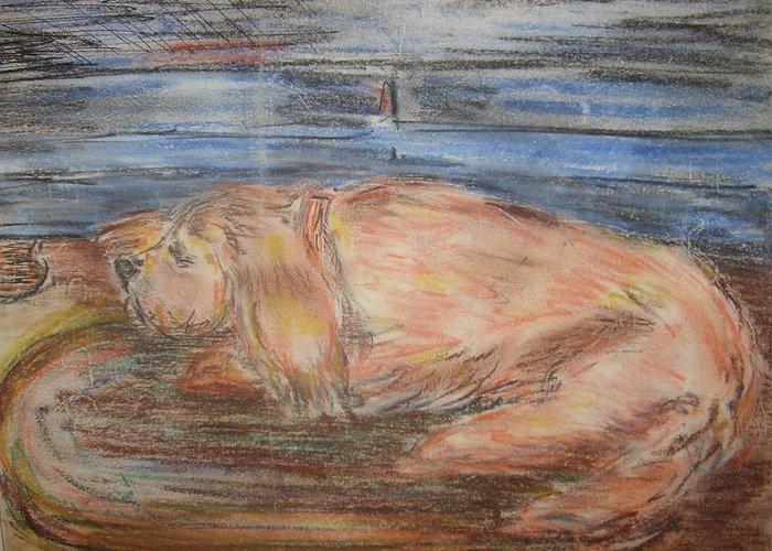 Dog Animals Portrait Floor Couch Cocker Spaniel Greeting Card featuring the pastel Friday by Joseph Sandora Jr