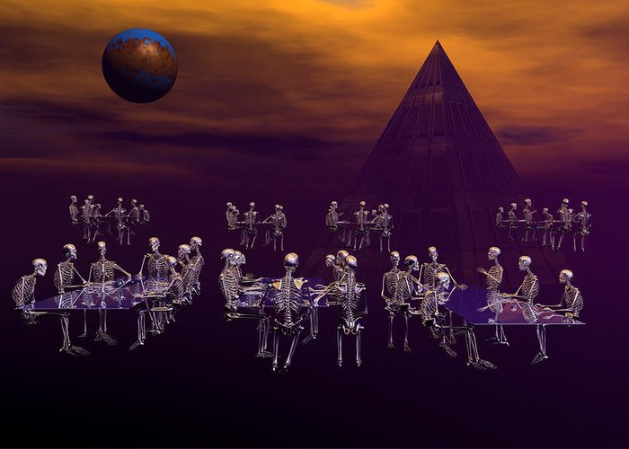 3d Bryce Fantasy Scifi Skeleton Greeting Card featuring the digital art Friday Night Bingo by Claude McCoy