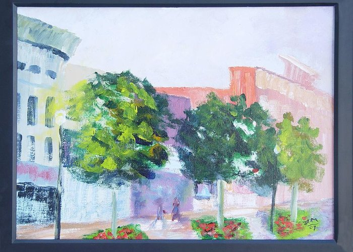 Cityscape Greeting Card featuring the painting Friday Night Columbus Ga by James Eugene Moore