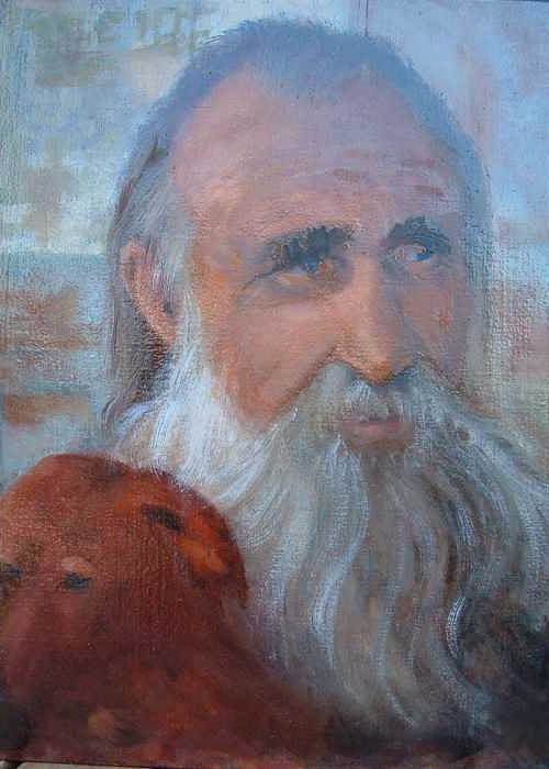 Man With His Dog Greeting Card featuring the painting Friends by Bryan Alexander