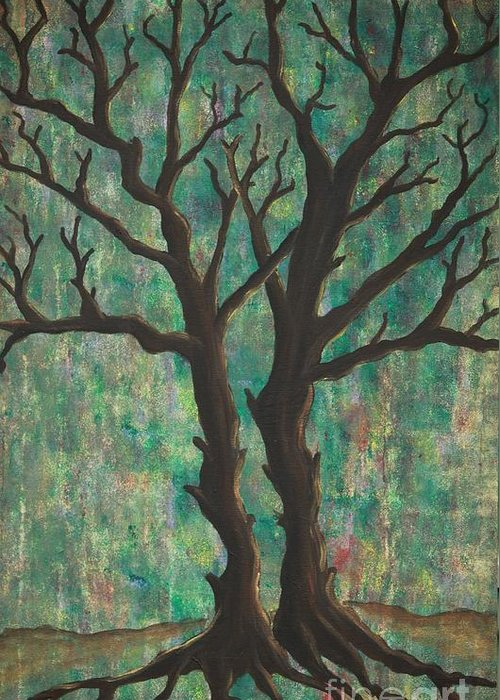Trees Greeting Card featuring the painting Friends by Jacqueline Athmann