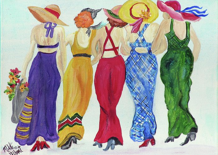 Sundresses Greeting Card featuring the painting Friends by Mikki Alhart