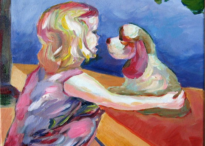 Child And Dog Greeting Card featuring the painting Friends by Naomi Gerrard