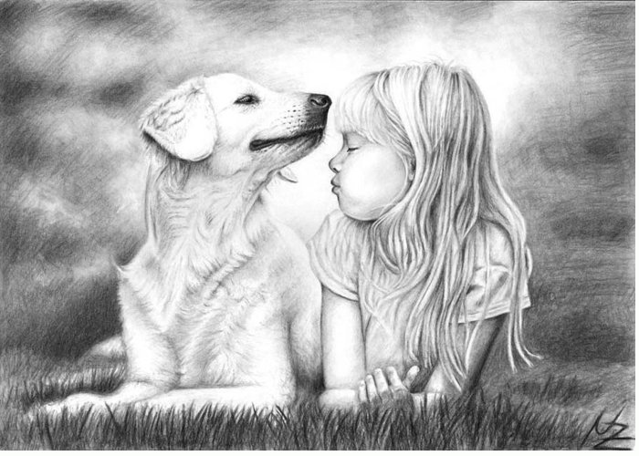 Dog Greeting Card featuring the drawing Friends by Nicole Zeug