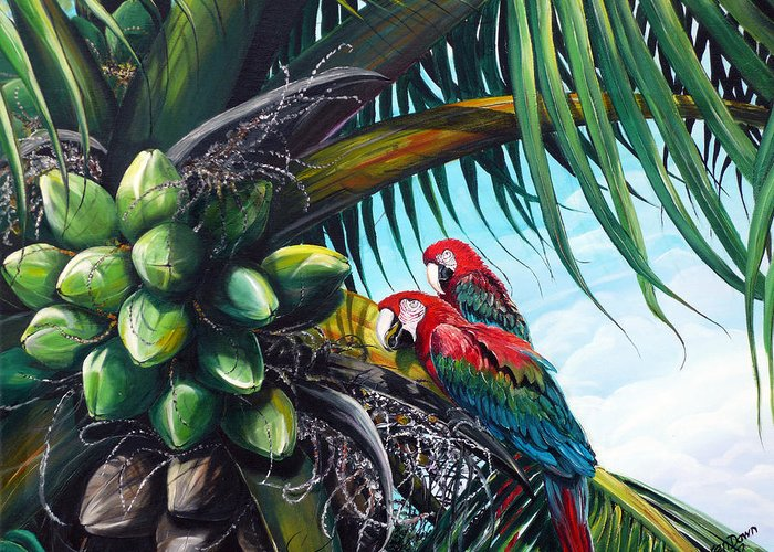 Macaws Bird Painting Coconut Palm Tree Painting Parrots Caribbean Painting Tropical Painting Coconuts Painting Palm Tree Greeting Card Painting Greeting Card featuring the painting Friends Of A Feather by Karin Dawn Kelshall- Best