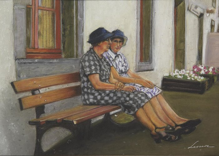 Female Friends Greeting Card featuring the pastel Friends Seated In Bench by Leonor Thornton