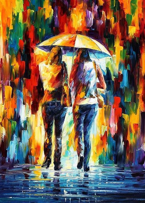 Afremov Greeting Card featuring the painting Friends Under The Rain by Leonid Afremov