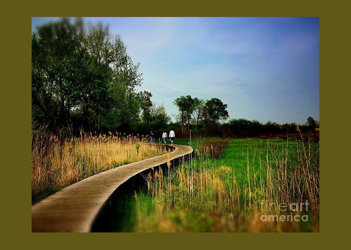 Frank J Casella Greeting Card featuring the photograph Friends Walking The Wetlands Trail by Frank J Casella