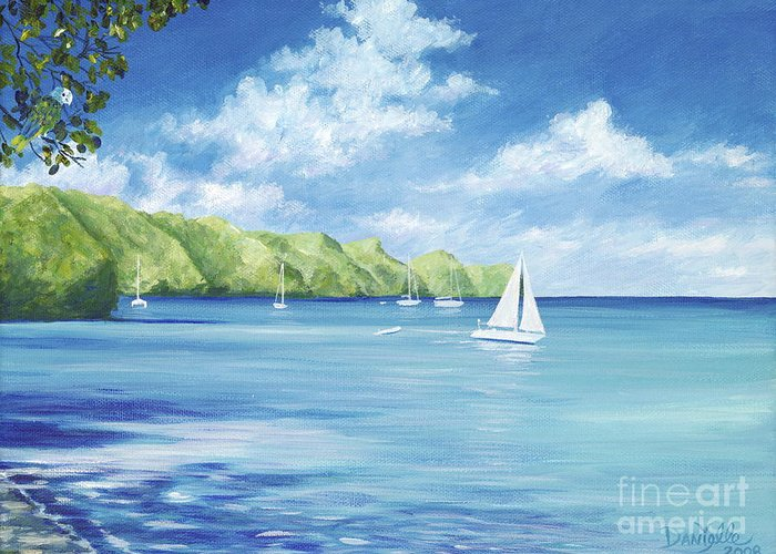 Nautical Seascape Greeting Card featuring the painting Friendship Bay by Danielle Perry