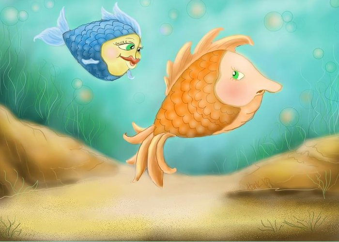 Blue Fish And Orange Fish Greeting Card featuring the drawing Friendship Fish by Hank Nunes