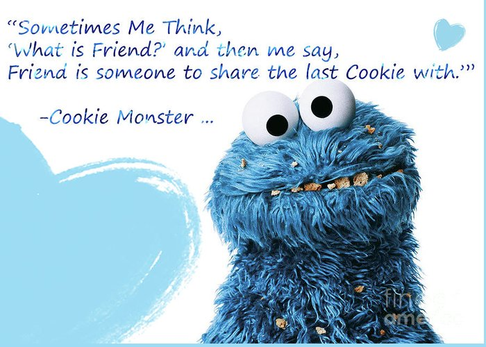 Friendship is cookie monster cute friendship quotes 2 greeting friendship greeting card featuring the digital art friendship is cookie monster cute friendship m4hsunfo