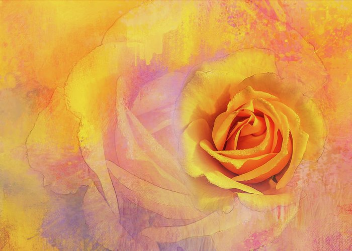 Photography Greeting Card featuring the digital art Friendship Rose Textured by Terry Davis