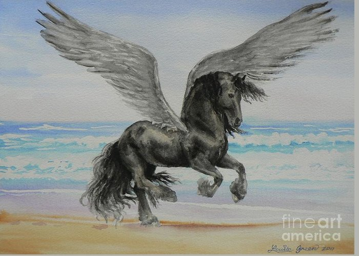 Friesian Greeting Card featuring the painting Friesian Pegasus by Louise Green