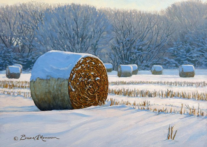 Landscape Painting Greeting Card featuring the painting Frigid Morning Bales by Bruce Morrison