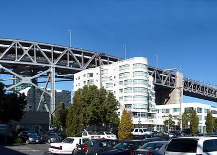 San Francisco Bridge Greeting Card featuring the photograph Frisco Bridge by Ron Bissett