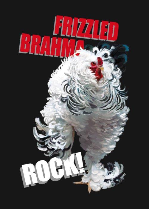Frizzled Brahma Light Brahma Greeting Card featuring the digital art Frizzled Brahma T-shirt Print by Sigrid Van Dort