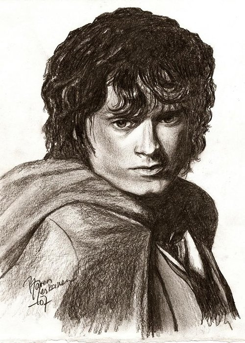 The Lord Of The Rings Greeting Card featuring the drawing Frodo by Maren Jeskanen