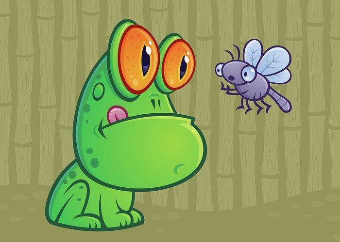 Frog Greeting Card featuring the digital art Frog And Dragonfly by John Schwegel