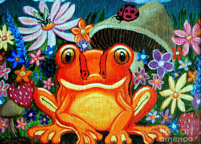 Frogs Greeting Card featuring the painting Frog And Flowers by Nick Gustafson