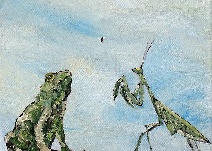 Frog Greeting Card featuring the painting Frog Fly And Mantis by Fabrizio Cassetta