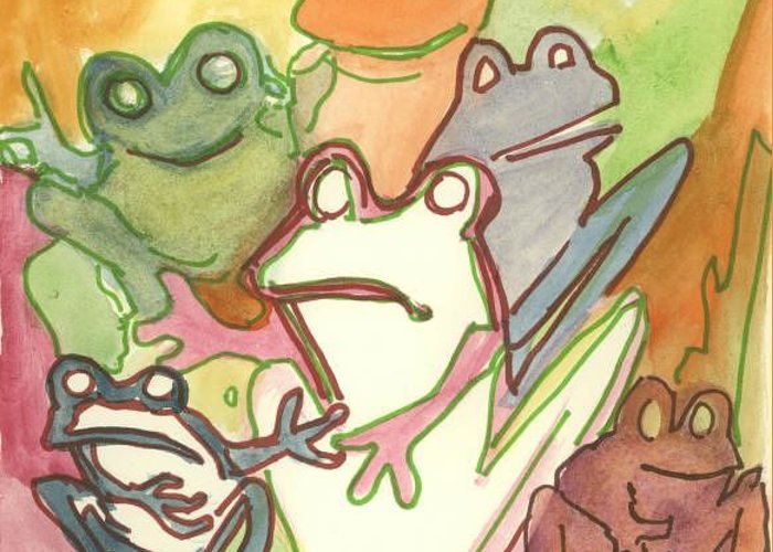 Frog Greeting Card featuring the painting Frog Group Portrait by James Christiansen