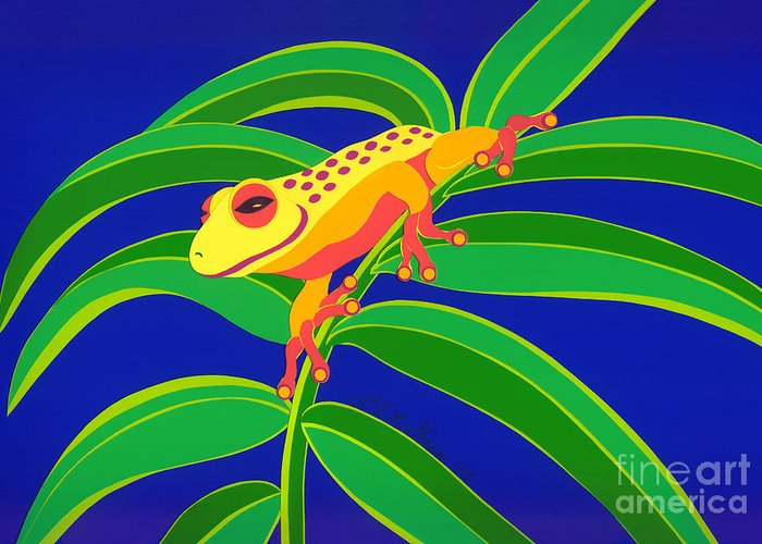 Nature Greeting Card featuring the drawing Frog On Branch by Lucyna A M Green