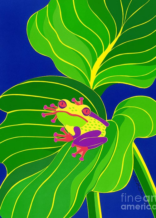 Nature Greeting Card featuring the drawing Frog On Leaf by Lucyna A M Green