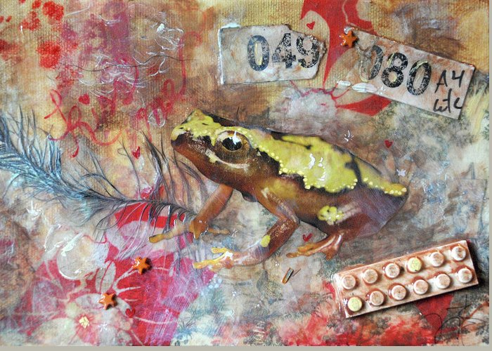 Frog Prince Greeting Card featuring the mixed media Frog Prince by Jennifer Kelly