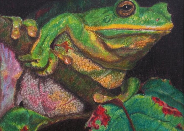 Frog Greeting Card featuring the painting Froggie by Karen Ilari