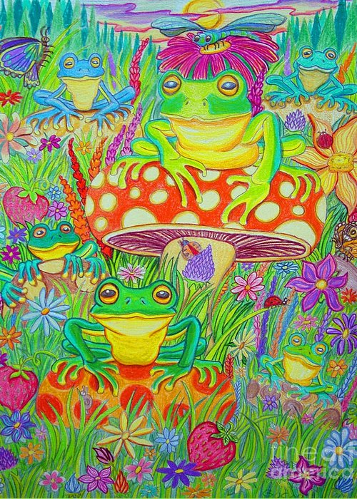 Frog Art Greeting Card featuring the drawing Frogs And Mushrooms by Nick Gustafson